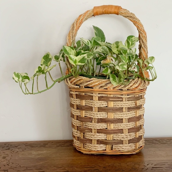 Vintage Woven Wicker Handle Basket Planter Pot